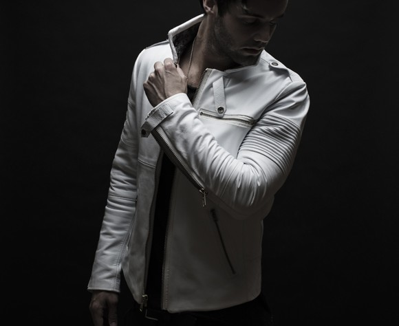 White leather riding jacket